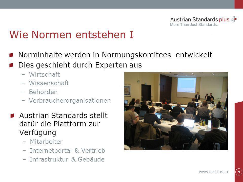 Wie Normen entstehen I Norminhalte werden in Normungskomitees entwickelt. Dies geschieht durch Experten aus.