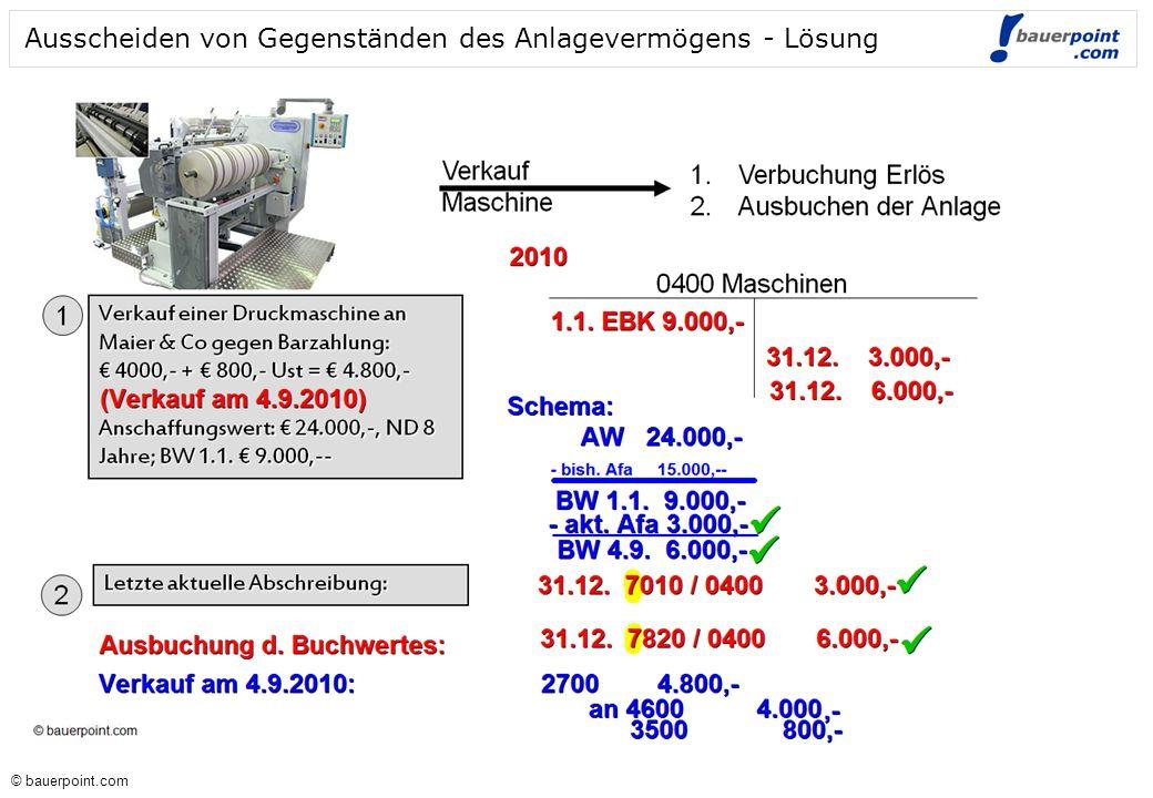 Ausscheiden von Gegenständen des Anlagevermögens - Lösung