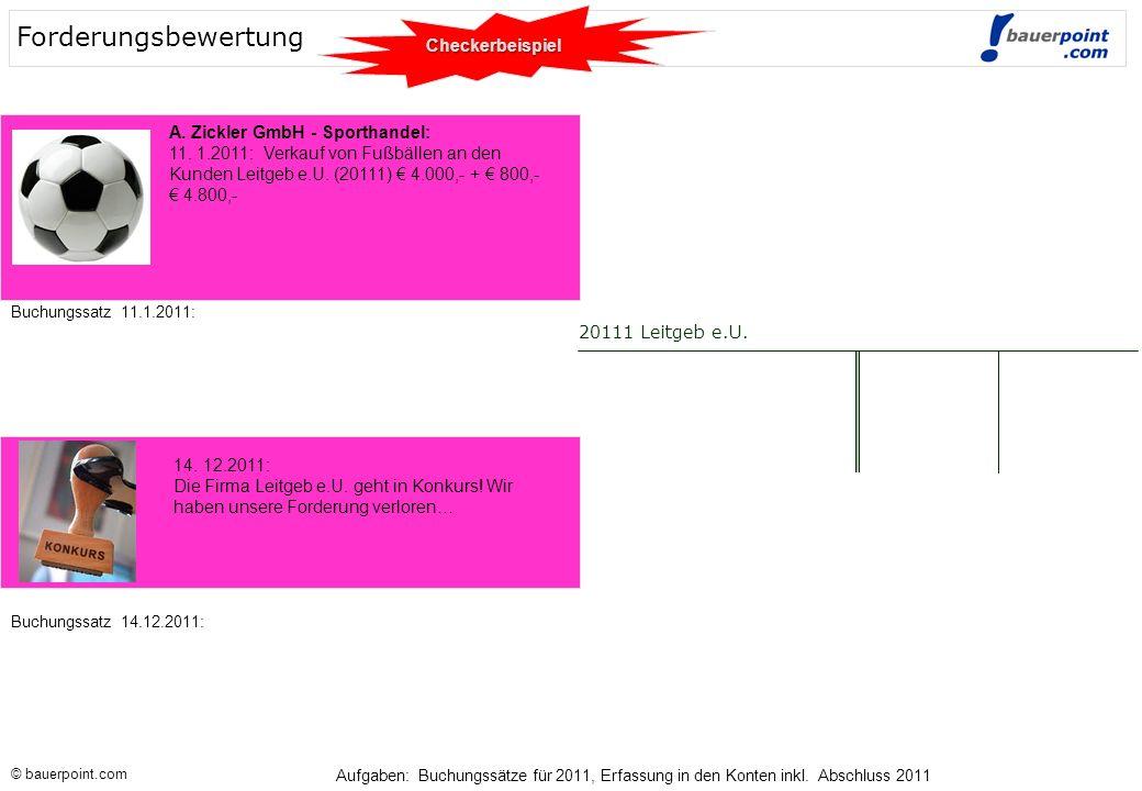 Forderungsbewertung Checkerbeispiel A. Zickler GmbH - Sporthandel: