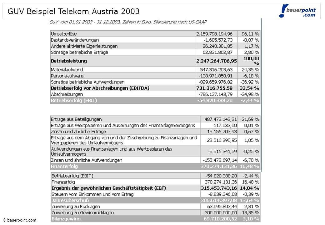 GUV Beispiel Telekom Austria 2003