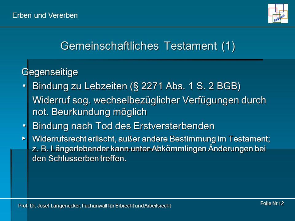 Gemeinschaftliches Testament (1)