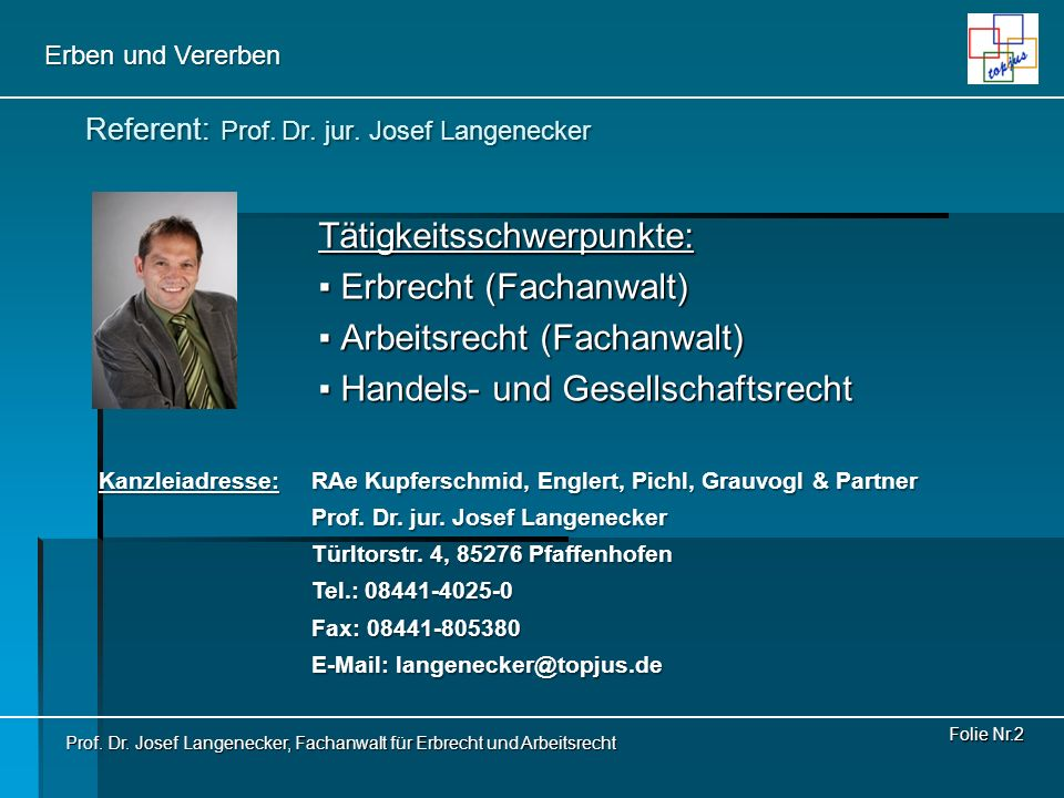 Referent: Prof. Dr. jur. Josef Langenecker