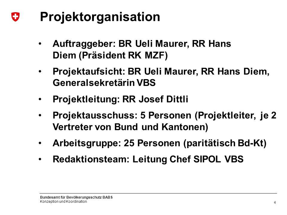 Projektorganisation Auftraggeber: BR Ueli Maurer, RR Hans Diem (Präsident RK MZF)