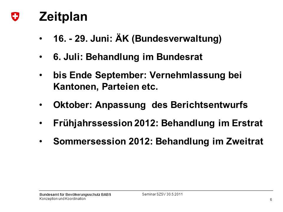 Zeitplan 16. - 29. Juni: ÄK (Bundesverwaltung)