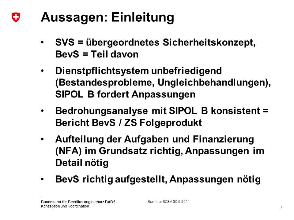 Aussagen: Einleitung SVS = übergeordnetes Sicherheitskonzept, BevS = Teil davon.