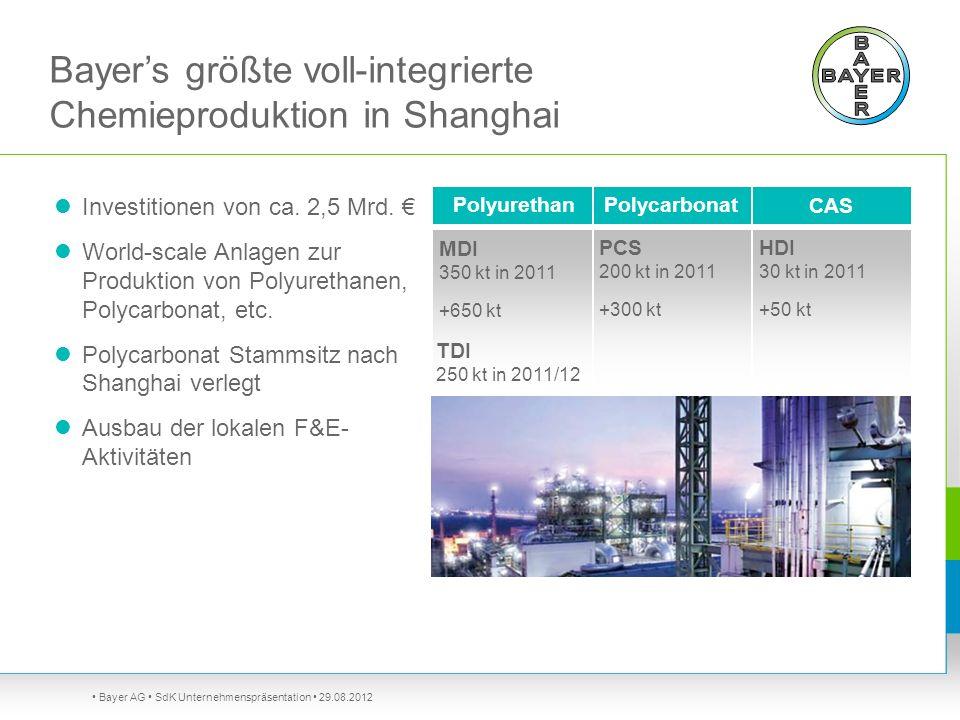 Bayer's größte voll-integrierte Chemieproduktion in Shanghai