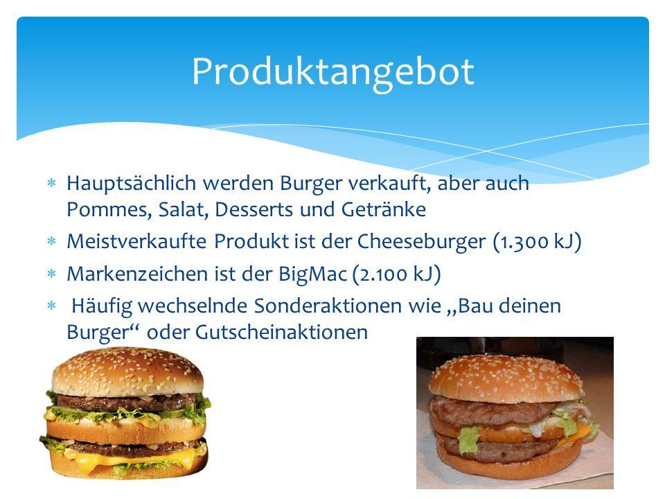 Produktangebot Hauptsächlich werden Burger verkauft, aber auch Pommes, Salat, Desserts und Getränke.
