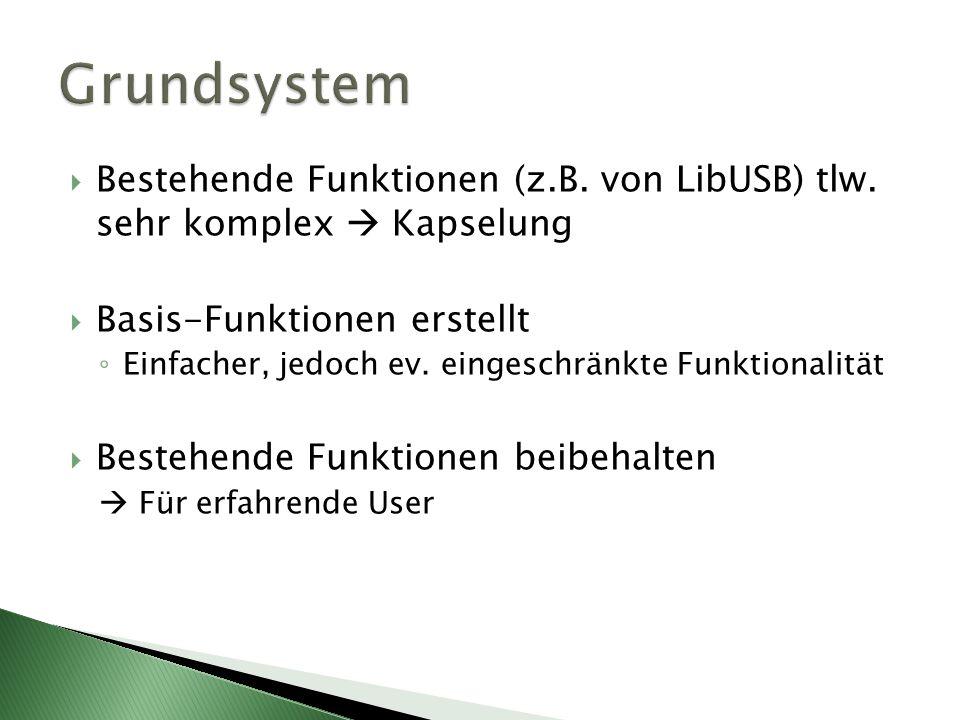 Grundsystem Bestehende Funktionen (z.B. von LibUSB) tlw. sehr komplex  Kapselung. Basis-Funktionen erstellt.