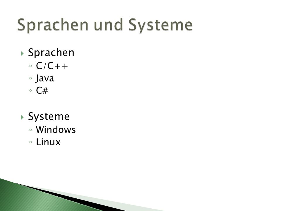 Sprachen und Systeme Sprachen C/C++ Java C# Systeme Windows Linux