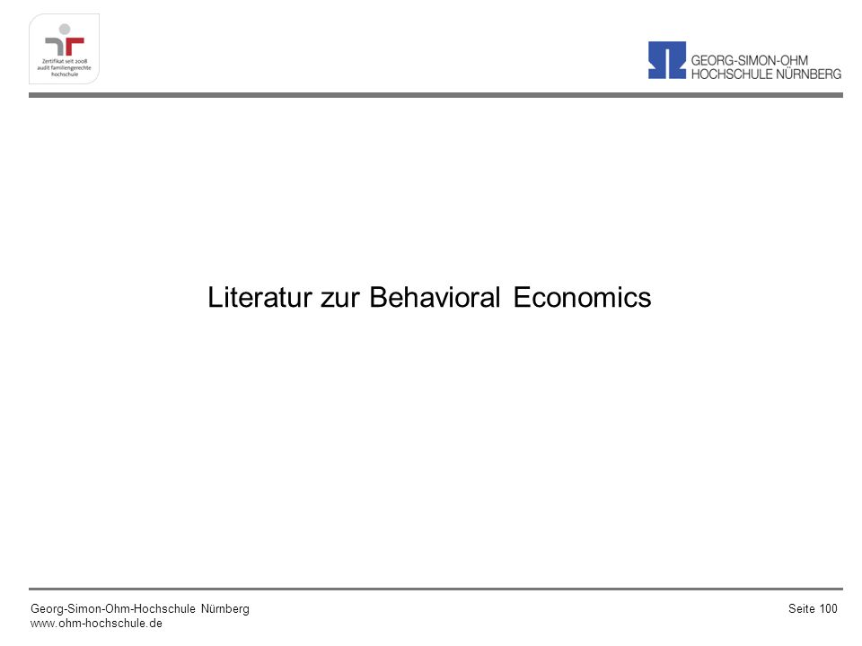Literatur zur Behavioral Economics