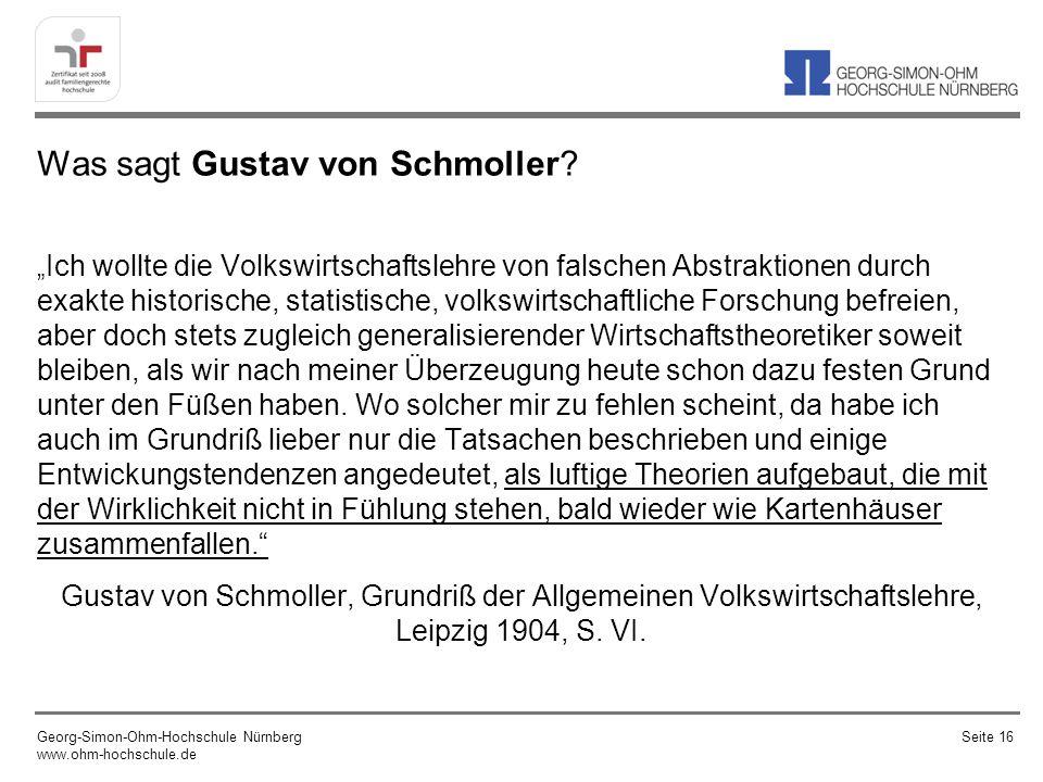 Was sagt Gustav von Schmoller