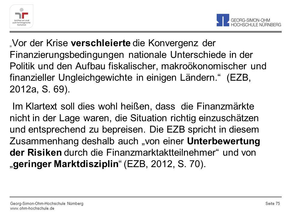 """""""Vor der Krise verschleierte die Konvergenz der Finanzierungsbedingungen nationale Unterschiede in der Politik und den Aufbau fiskalischer, makroökonomischer und finanzieller Ungleichgewichte in einigen Ländern. (EZB, 2012a, S. 69)."""