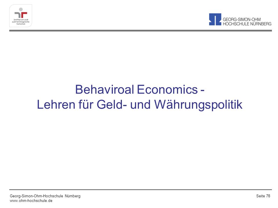 Behaviroal Economics - Lehren für Geld- und Währungspolitik