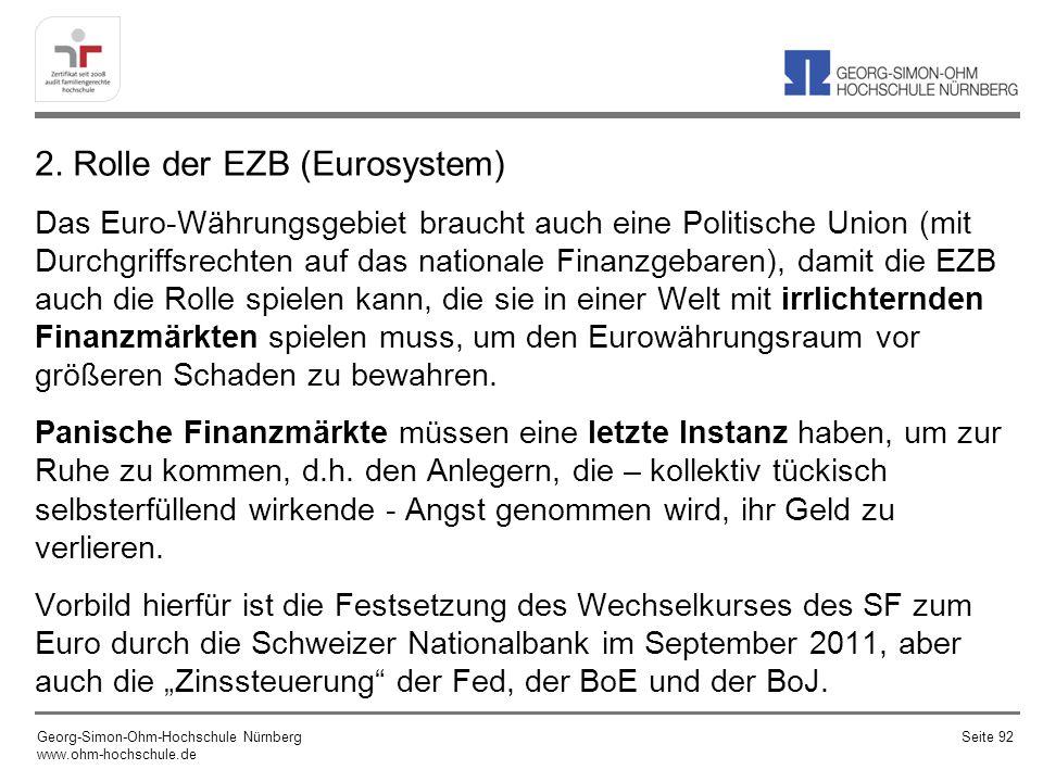 2. Rolle der EZB (Eurosystem)