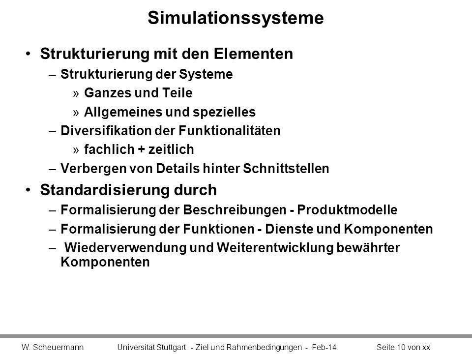 Simulationssysteme Strukturierung mit den Elementen