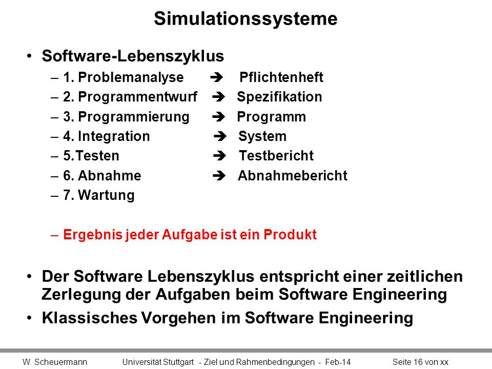 Simulationssysteme Software-Lebenszyklus