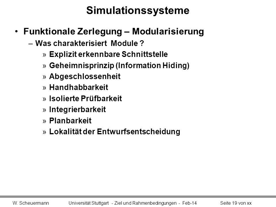 Simulationssysteme Funktionale Zerlegung – Modularisierung