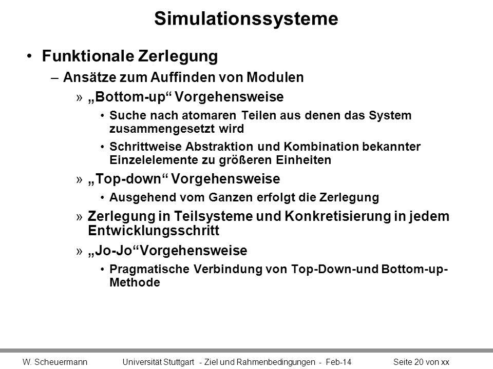 Simulationssysteme Funktionale Zerlegung