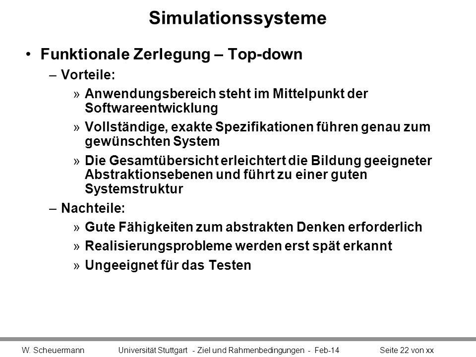 Simulationssysteme Funktionale Zerlegung – Top-down Vorteile: