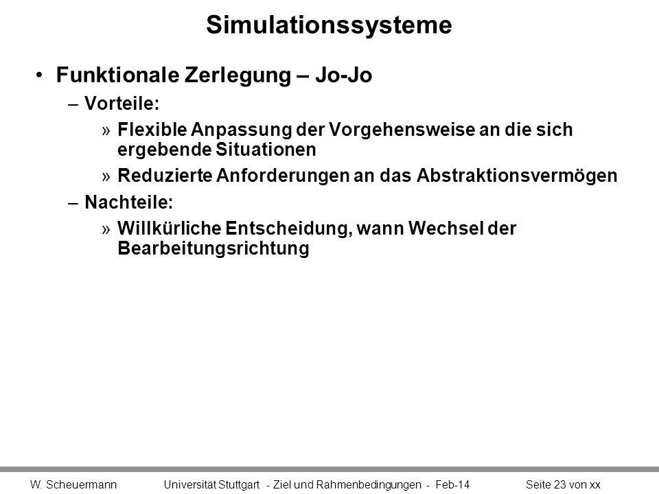 Simulationssysteme Funktionale Zerlegung – Jo-Jo Vorteile: