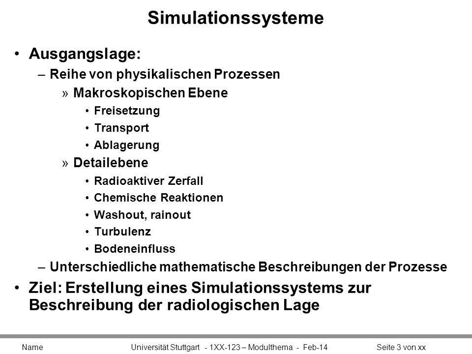 Simulationssysteme Ausgangslage: