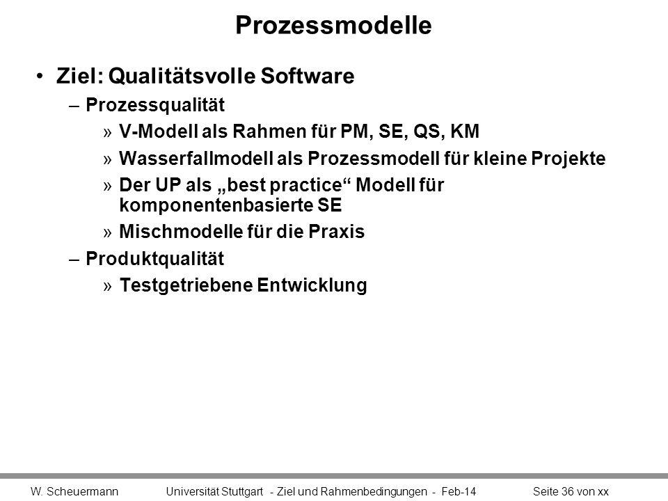 Prozessmodelle Ziel: Qualitätsvolle Software Prozessqualität