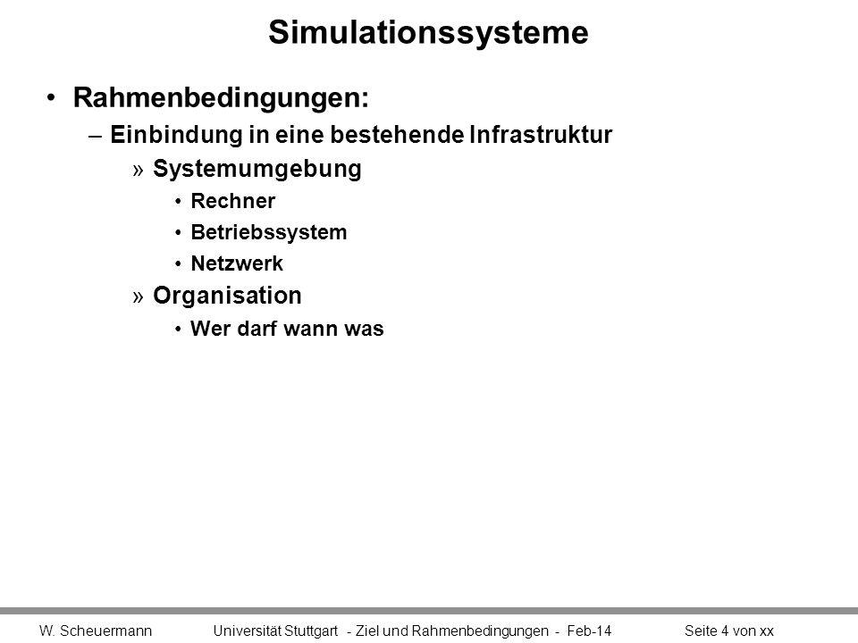 Simulationssysteme Rahmenbedingungen: