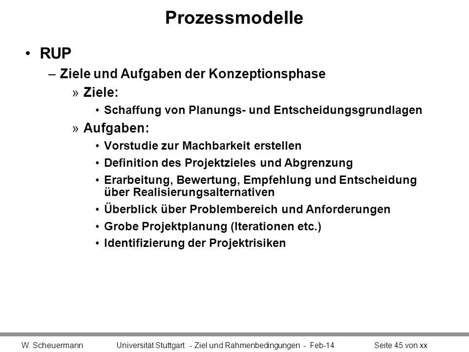 Prozessmodelle RUP Ziele und Aufgaben der Konzeptionsphase Ziele: