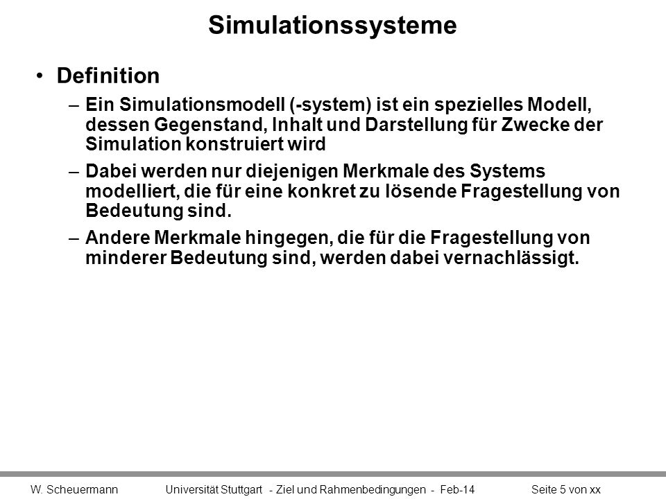 Simulationssysteme Definition