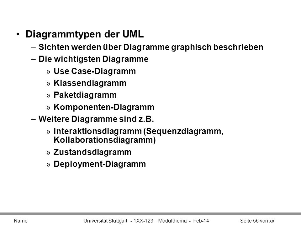Diagrammtypen der UMLSichten werden über Diagramme graphisch beschrieben. Die wichtigsten Diagramme.