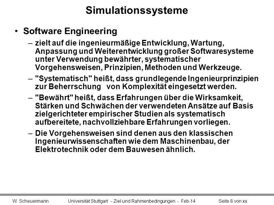 Simulationssysteme Software Engineering