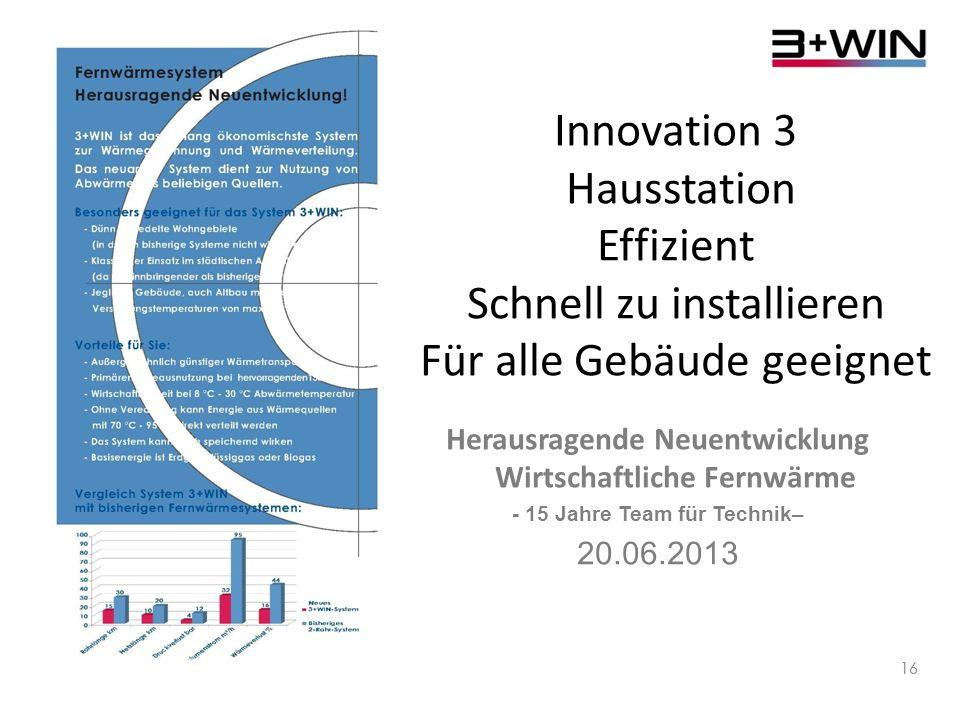 Innovation 3 Hausstation Effizient Schnell zu installieren Für alle Gebäude geeignet