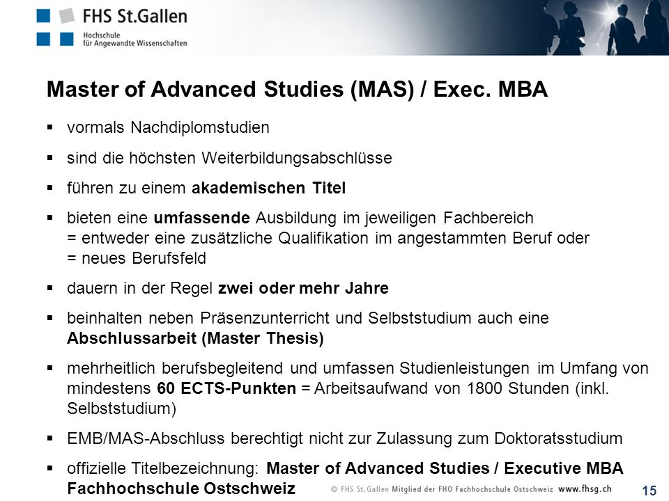 Master of Advanced Studies (MAS) / Exec. MBA