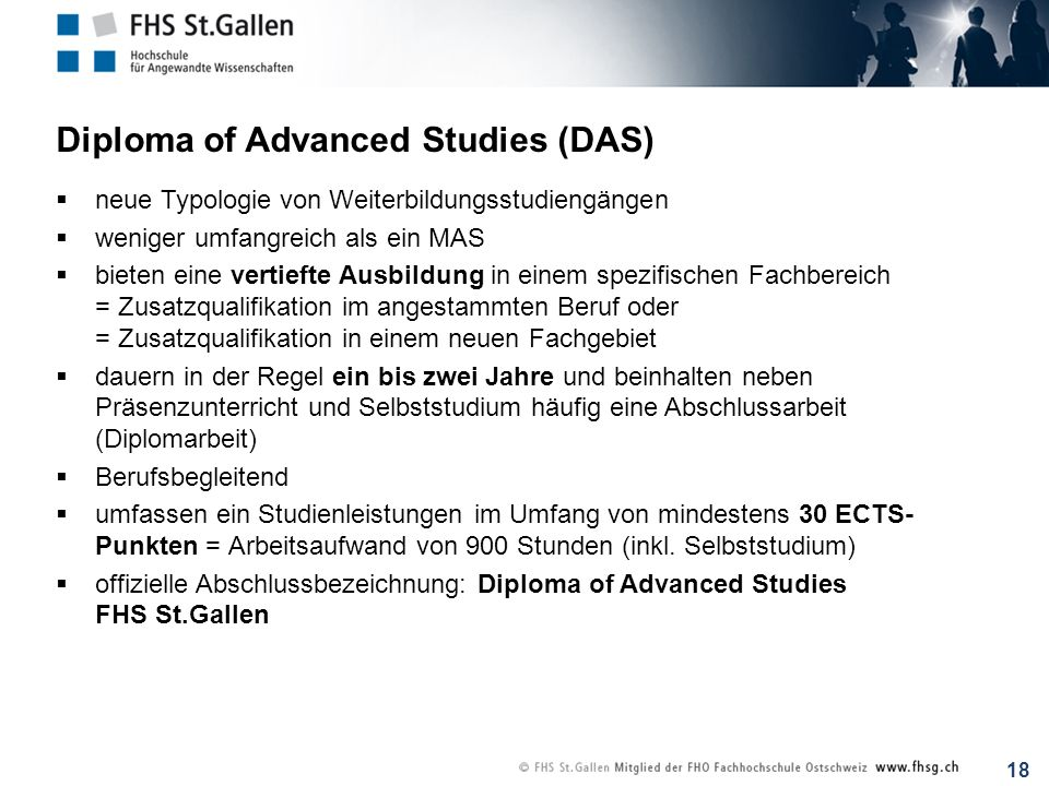 Diploma of Advanced Studies (DAS)