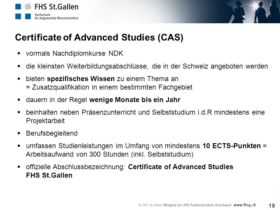 Certificate of Advanced Studies (CAS)
