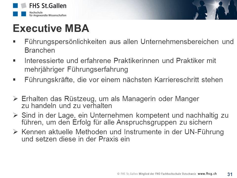 Executive MBA Führungspersönlichkeiten aus allen Unternehmensbereichen und Branchen.