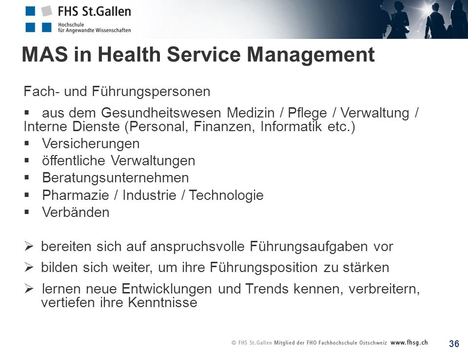 MAS in Health Service Management