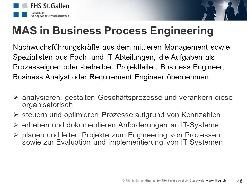 MAS in Business Process Engineering