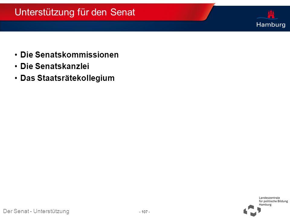 Unterstützung für den Senat