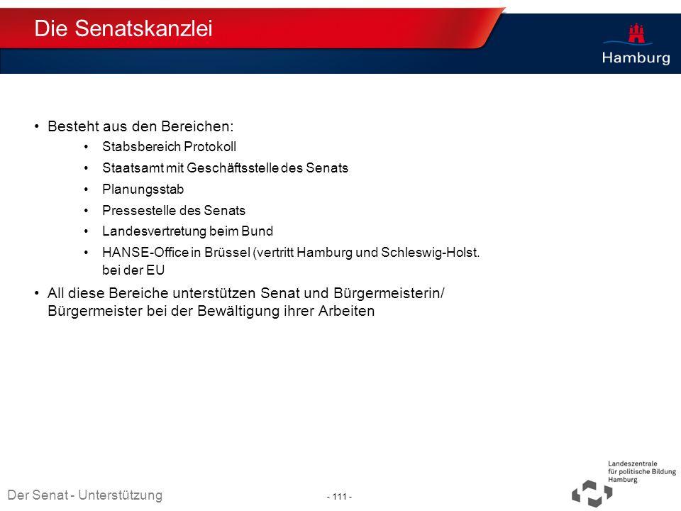 Die Senatskanzlei Besteht aus den Bereichen: