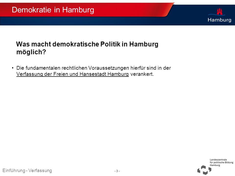 Demokratie in Hamburg Was macht demokratische Politik in Hamburg möglich