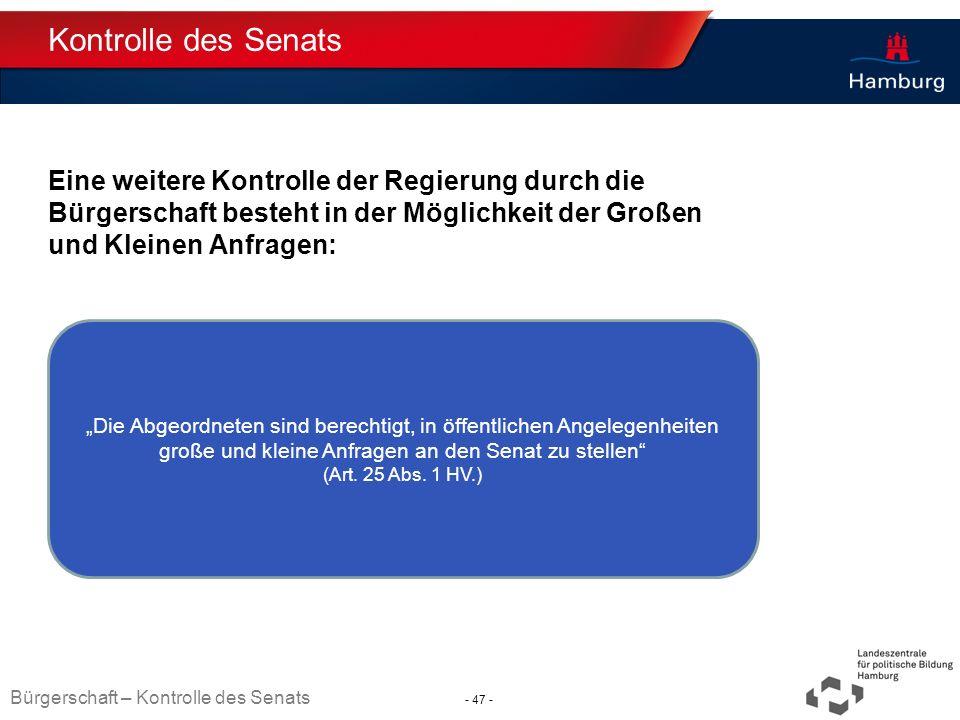 Kontrolle des Senats Eine weitere Kontrolle der Regierung durch die Bürgerschaft besteht in der Möglichkeit der Großen und Kleinen Anfragen: