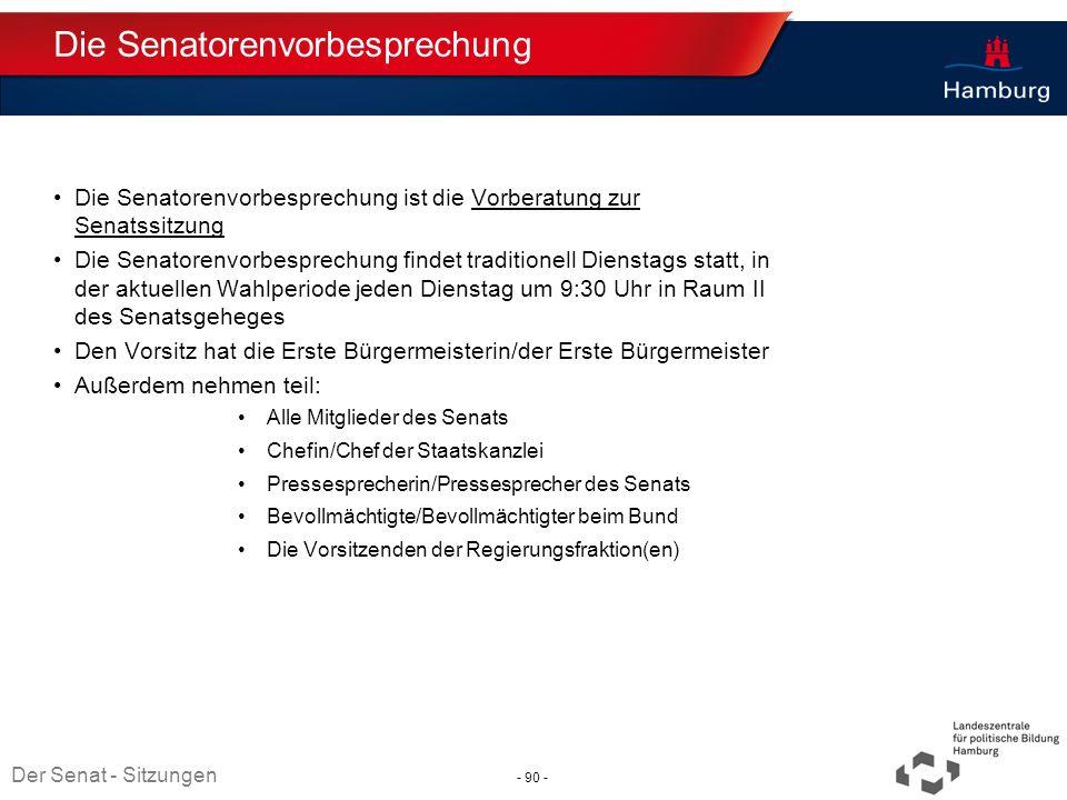 Die Senatorenvorbesprechung
