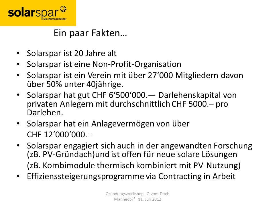 Gründungsworkshop IG vom Dach Männedorf 11. Juli 2012