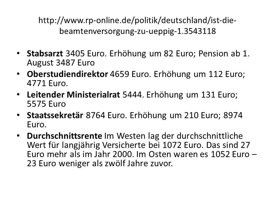 Oberstudiendirektor 4659 Euro. Erhöhung um 112 Euro; 4771 Euro.