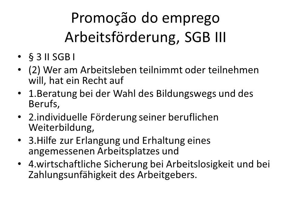 Promoção do emprego Arbeitsförderung, SGB III