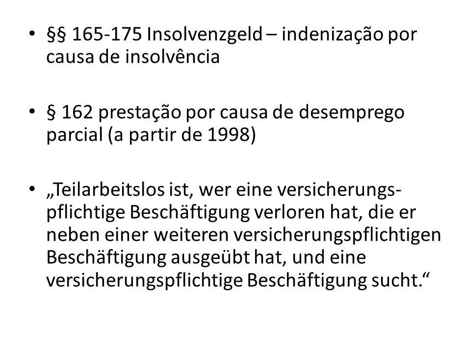§§ 165-175 Insolvenzgeld – indenização por causa de insolvência
