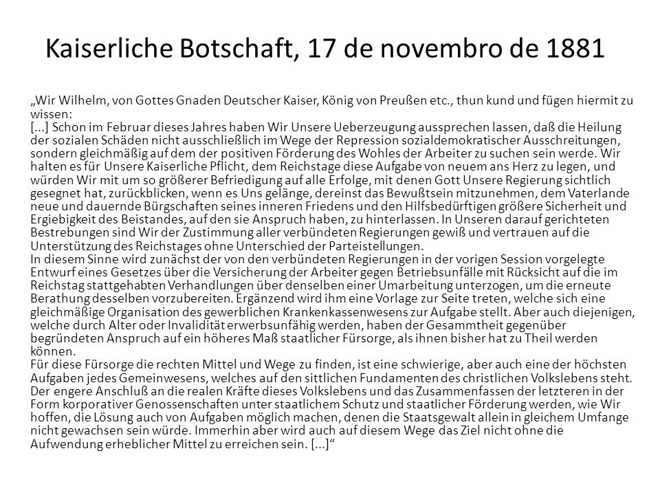 Kaiserliche Botschaft, 17 de novembro de 1881