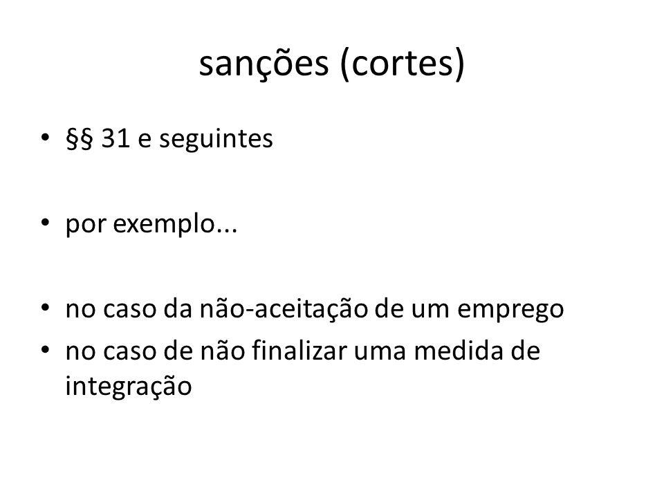 sanções (cortes) §§ 31 e seguintes por exemplo...