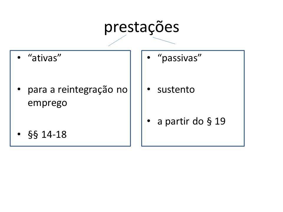 prestações ativas para a reintegração no emprego §§ 14-18 passivas